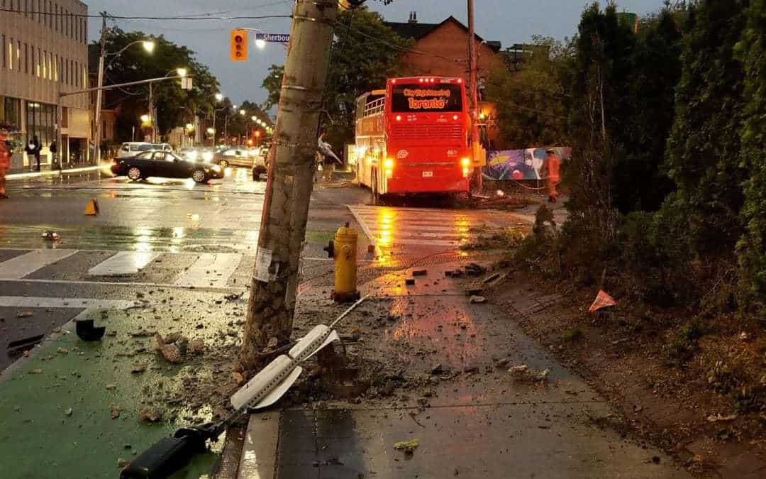 Tourist bus crashes downtown, driver has serious injuries